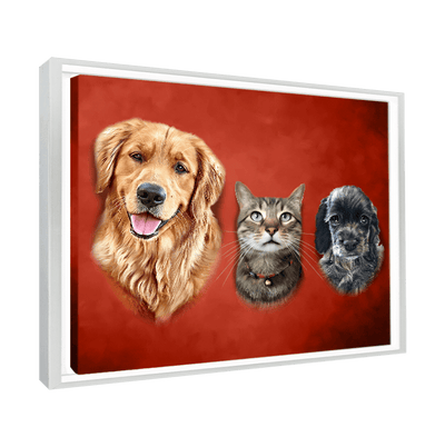 Custom Pet Portrait - 3 Pets – Crimson - My Pooch Face