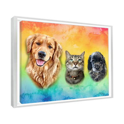 Custom Pet Portrait - 3 Pets – Rainbow - My Pooch Face