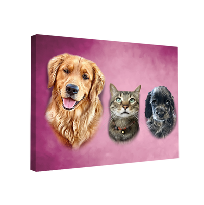 Custom Pet Portrait - 3 Pets – Rose - My Pooch Face