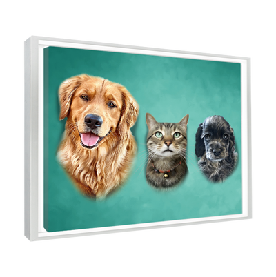 Custom Pet Portrait - 3 Pets – Turquoise - My Pooch Face