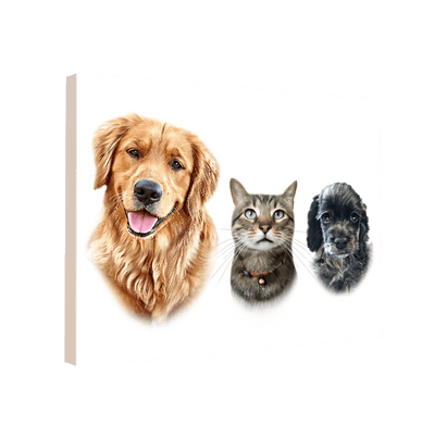 Custom Pet Portrait - 3 Pets – White - My Pooch Face