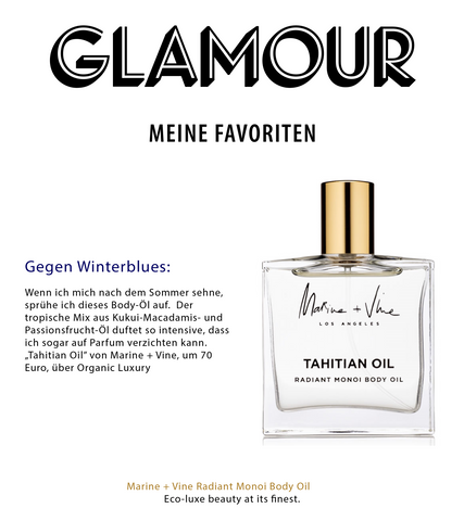 Glamour Magazine Germany | Tahitian Oil | Marine and Vine | Best Body Oil | Best Fragrance | Indie Beauty Expo | Best of IBE2019