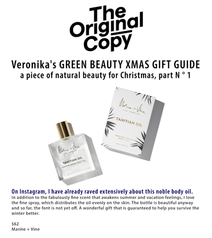 THE ORIGINAL COPY | Veronika's Green Beauty Christmas Gift Guide | Tahitian Oil | Marine and Vine | Best Fragrance