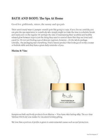 Trend Prive Magazine - Holiday Gift Guide 2019 - Tahitian Balm by Marine + Vine