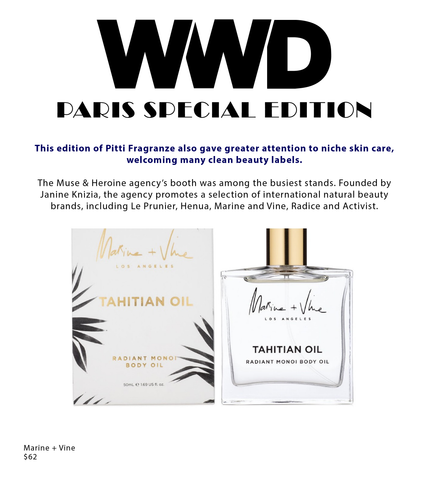 WWD | Pitti Fragranze | Marine + Vine | Tahitian Oil