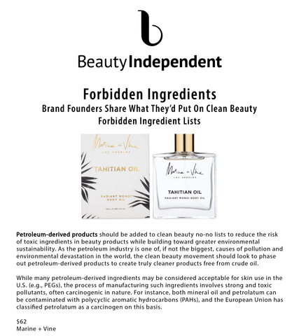 Beauty Independent: Brand Founders Share What They'd Put On Clean Beauty Forbidden Ingredient Lists