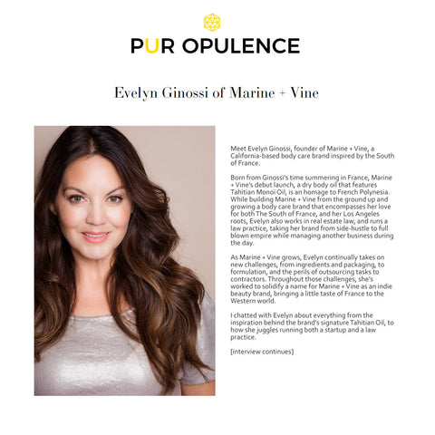 PUR OPULENCE: Meet Evelyn Ginossi of Marine + Vine | Tahitian Oil