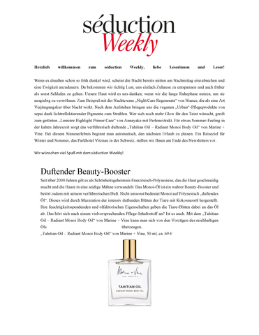 Seduction Weekly | Tahitian Oil | Marine + Vine | Organic Luxury Munich