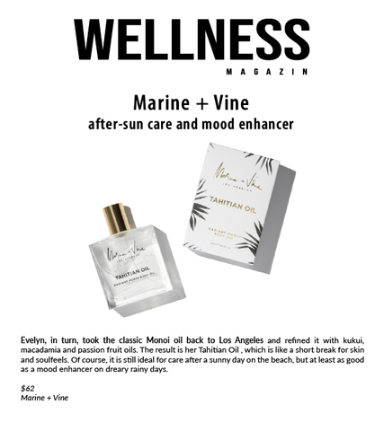 Wellness Magazin Austria | Marine + Vine | Tahitian Oil | Best Body Oil | Organic Luxury Munic