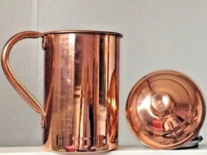 Pure Copper Pitcher (in/ out) with lid cover 56 oz Jug Ayurveda Yoga Health