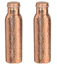 Copper Water Bottle Hammered Leakproof Jointless NO PLATING/ LINING 30oz Yoga Ayurved New
