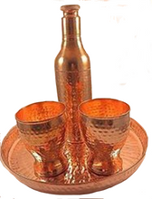 Copper Hammered Round Serving Tray set