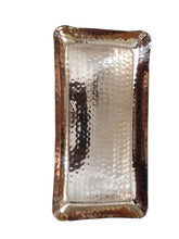 "Copper Hammered Rectangle Serving Tray 12X6"" Hotel Home Decor Bar Tray Elegant New"