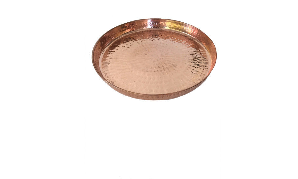 Copper Hammered Round Serving Tray 13