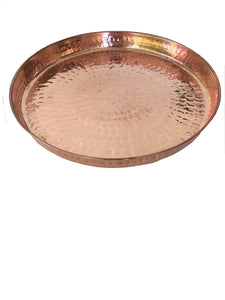 "Copper Hammered Round Serving Tray 13"" Hotel Home Decor Bar Tray Elegant"