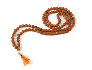 Authentic Wood Brown Rudraksha Mala for Jaap Chanting Astrology (108+1 Beads)