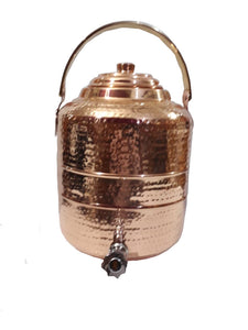 Copper Water Dispenser 1.7 gal 6.5 Ltr 218 oz Pot Storage Tank With Tap Kitchen Benefit Yoga Home Hotel