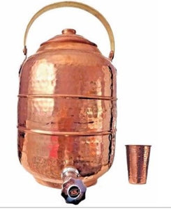 Copper Water Pot Dispenser 2.6 gal / 9.8 ltr Tank w/ Tap Faucet Kitchen Yoga