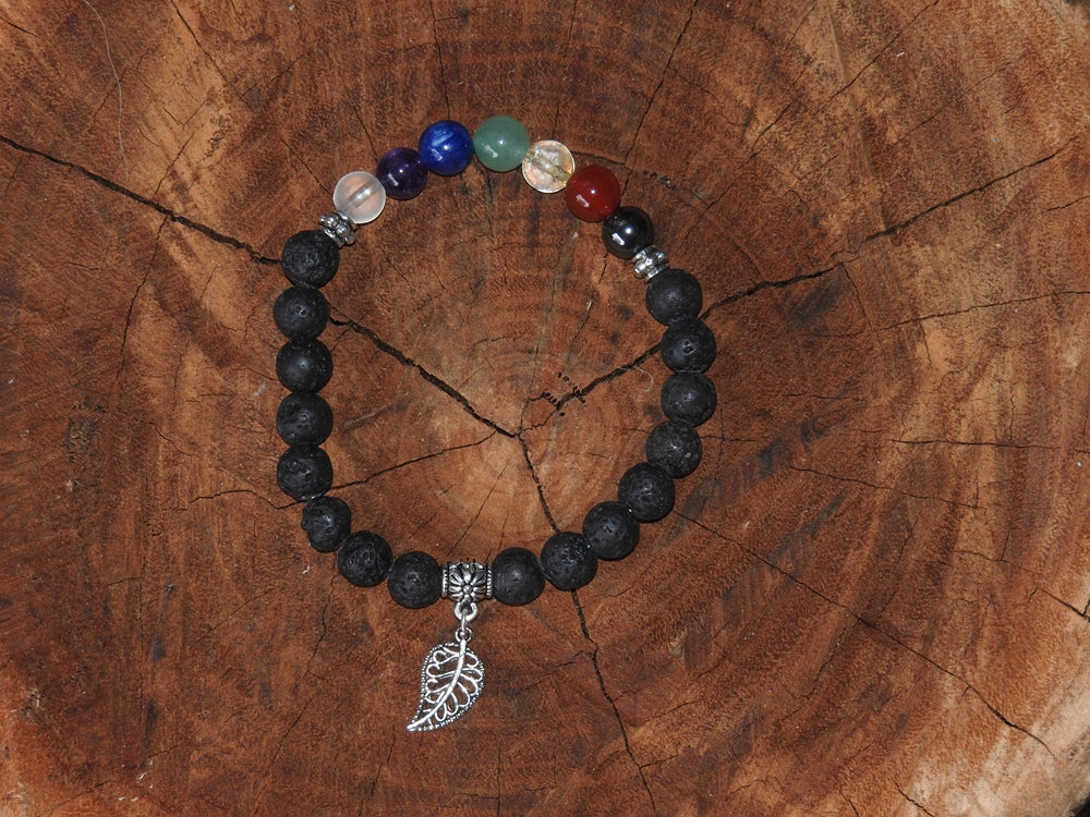 Crystal Bracelet - Chakra Bracelet with Lava beads