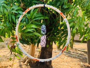 Crystal Dreamcatcher - Rainbow Moonstone, Carnelian, Fluorite & Rose Quartz