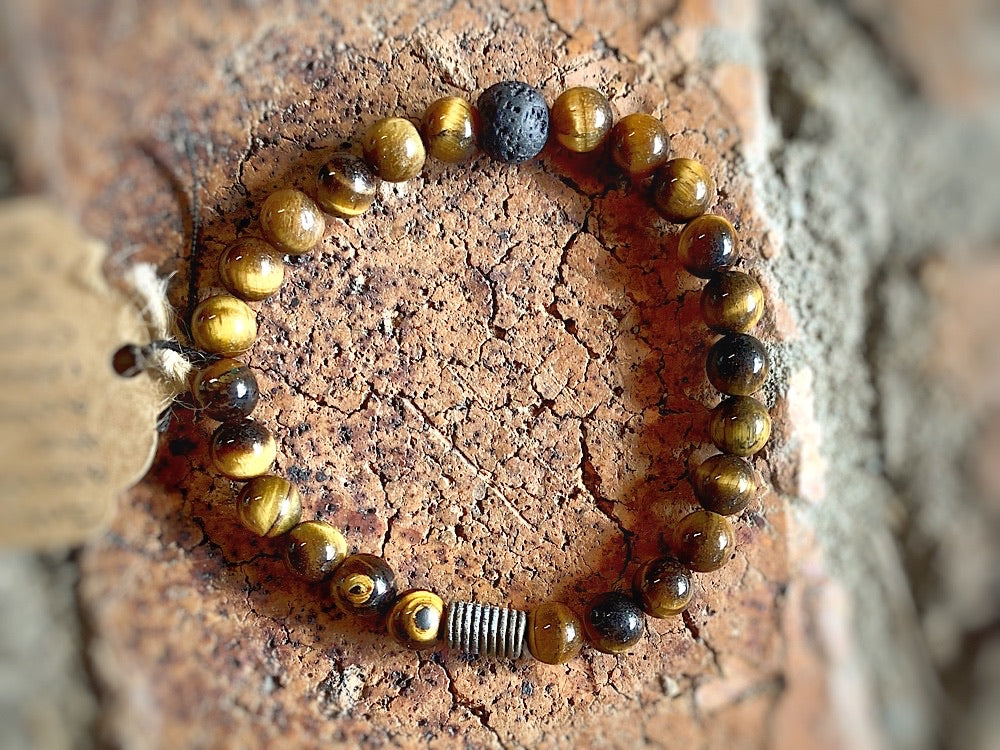 Crystal Bracelet- Tiger Eye & Lava