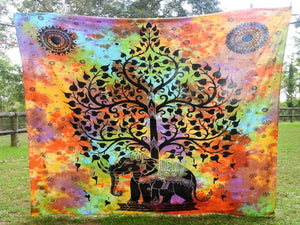 Tie Dyed tree of Life with Elephant - Multi