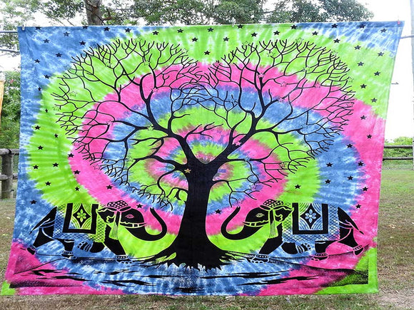 Tie Dyed Tree of Life with 2 Elephants