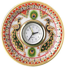 GREENTOUCH CRAFTS Kundan Work Round Shaped Marble Peacock Moti Clock (15.24 cm x 15.24 cm) - GreentouchCrafts