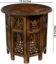 Jaipur Solid Wood Hand Carved Accent Coffee Table - 18 Inch Round Top x 18 Inch High - Antique Brown handmade table - GreentouchCrafts