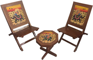 Rajasthani Dhola Maru Handmade Wooden Folding Chairs and Table with handmade painting work, Multicolour - Set of 3 ( 2 chairs and 1 round table) - GreentouchCrafts