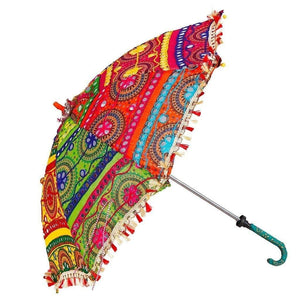 Jaipur Traditional Handicraft Handmade Embroidered Work Cotton Umbrella (Multicolour) - GreentouchCrafts