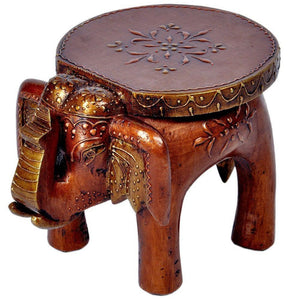 Wooden Decorative Rajastani Elephant Stool | Rajasthani Home Decor Handicrafts | Home Decorative Items in Living Room, Bedroom | Showpiece Gifts