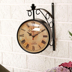 8 Inch Dial Vintage Wall Clock/Black Station Clock/Antique Clock Like Brass Wall Clock/Victoria Royal Double Side Clock/Double Sided Wall Clock, Gift (Metal Victoria, 12 X 12) - GreentouchCrafts