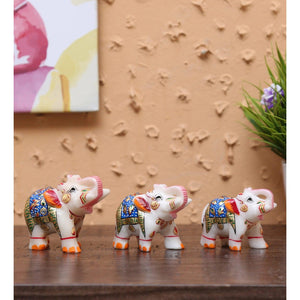 Multicolour Marble Blue Emboss Elephants Animal Figurine - Set of 3 - GreentouchCrafts