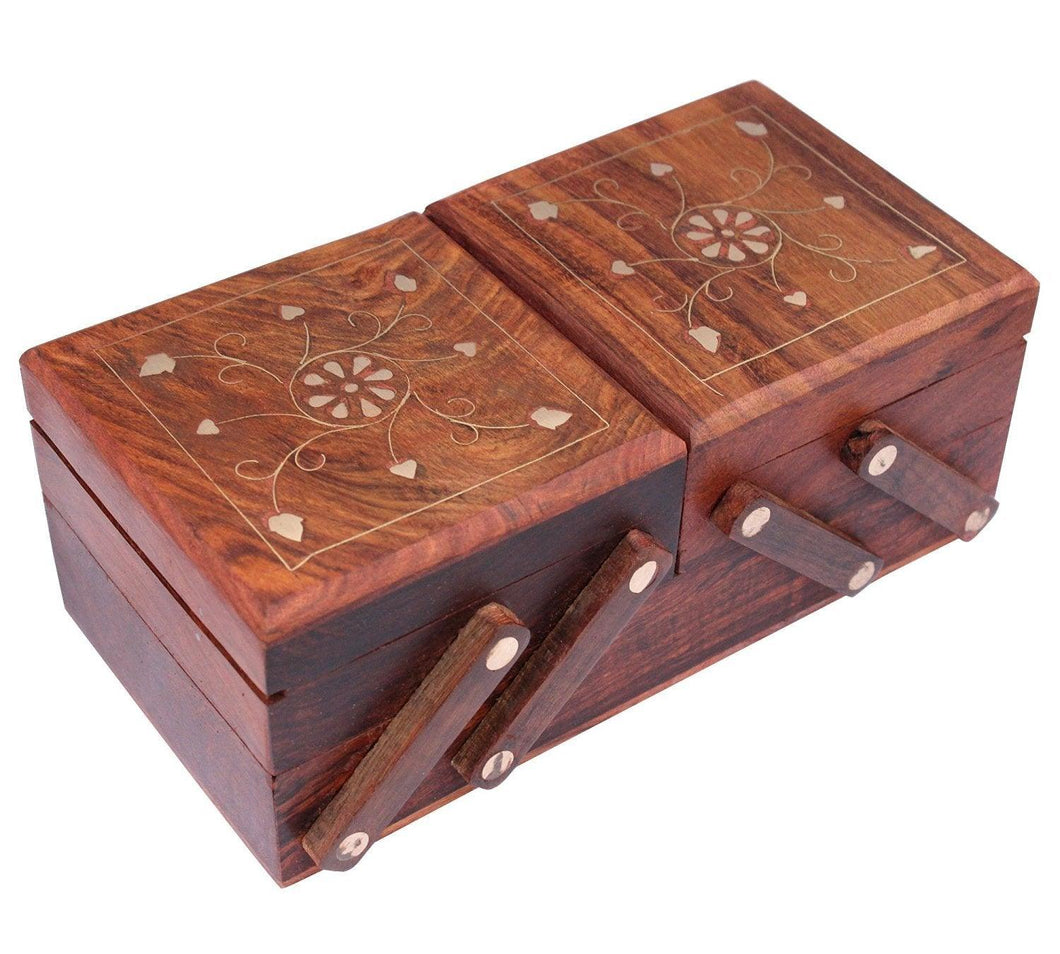 Jewellery Box for Women Wooden Flip Flap Handmade Gift, 8 Inches - GreentouchCrafts