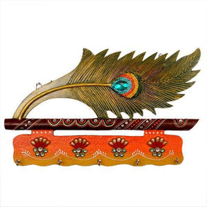 Lord Krishna Bansuri and Peacock Feather pattern wooden Key Holder with painting work - GreentouchCrafts