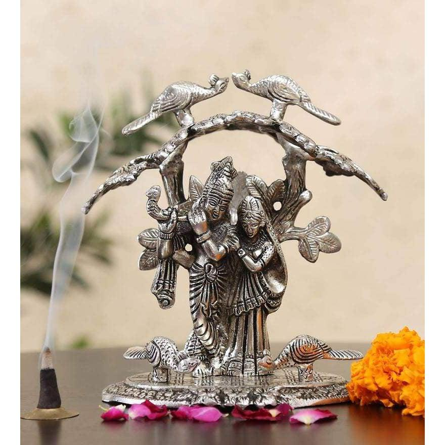 Silver White Metal Radha Krishna Idol Playing Flute Under Tree