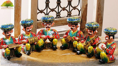 Rajasthani Wood Musician Bawla Set (Brown, Set of 6) in different musicial position, height 4.5 inch approx of each - GreentouchCrafts