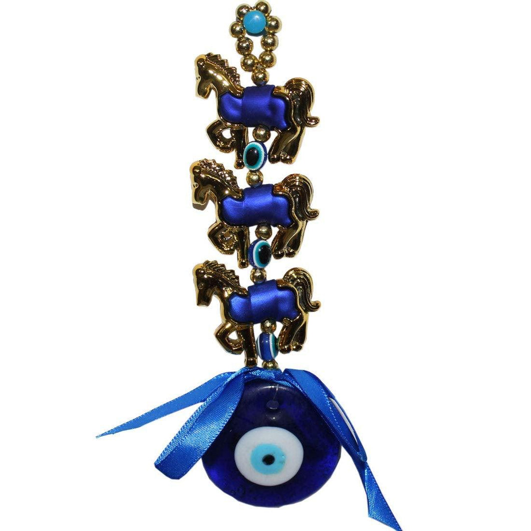 Evil Eye Three Horse Hanging For Good Luck And Prosperity Horse Zodiac vastu feng shui product - GreentouchCrafts