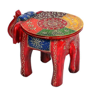 Wooden Decorative Rajastani Hand Painted Elephant Stool | Rajasthani Home Decor Handicrafts | Home Decorative Items in Living Room, Bedroom | Showpiece Gifts - GreentouchCrafts
