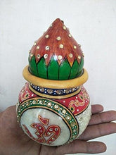 GREENTOUCH CRAFTS Antique Handmade Marble Pooja Kalash/Pot and Coconut, 7 inch - GreentouchCrafts