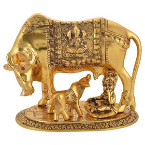 Large Gold Elegant Kamdhenu Cow and Calf Metal Statue Spiritual Showpiece Figurine Sculpture House Warming Gift & Home Decor Congratulatory Blessing Gift Item, Large size approx 9 inch - GreentouchCrafts