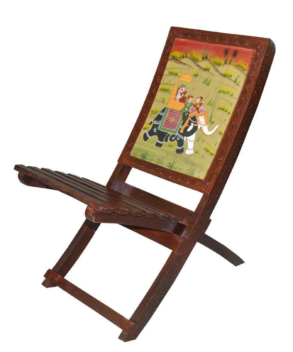 Handmade Ethnic Looks Wooden Folding Relaxing Chair with Hand Royal Painting - GreentouchCrafts