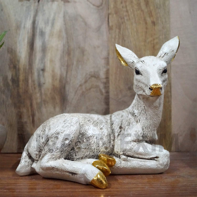 Home Decor Deer Showpiece , Living Room and Gifting Polyresin Statue (Gold & White with antique dark lining handwork) - GreentouchCrafts