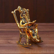 Brass 3D Moving Lord Ganesha Statue Sitting on A Chair and Reading Ramayan - GreentouchCrafts