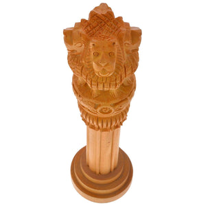 Ashoka Pillar Wooden Handicraft Administration Show piece gift - ( height 30 cm) - GreentouchCrafts