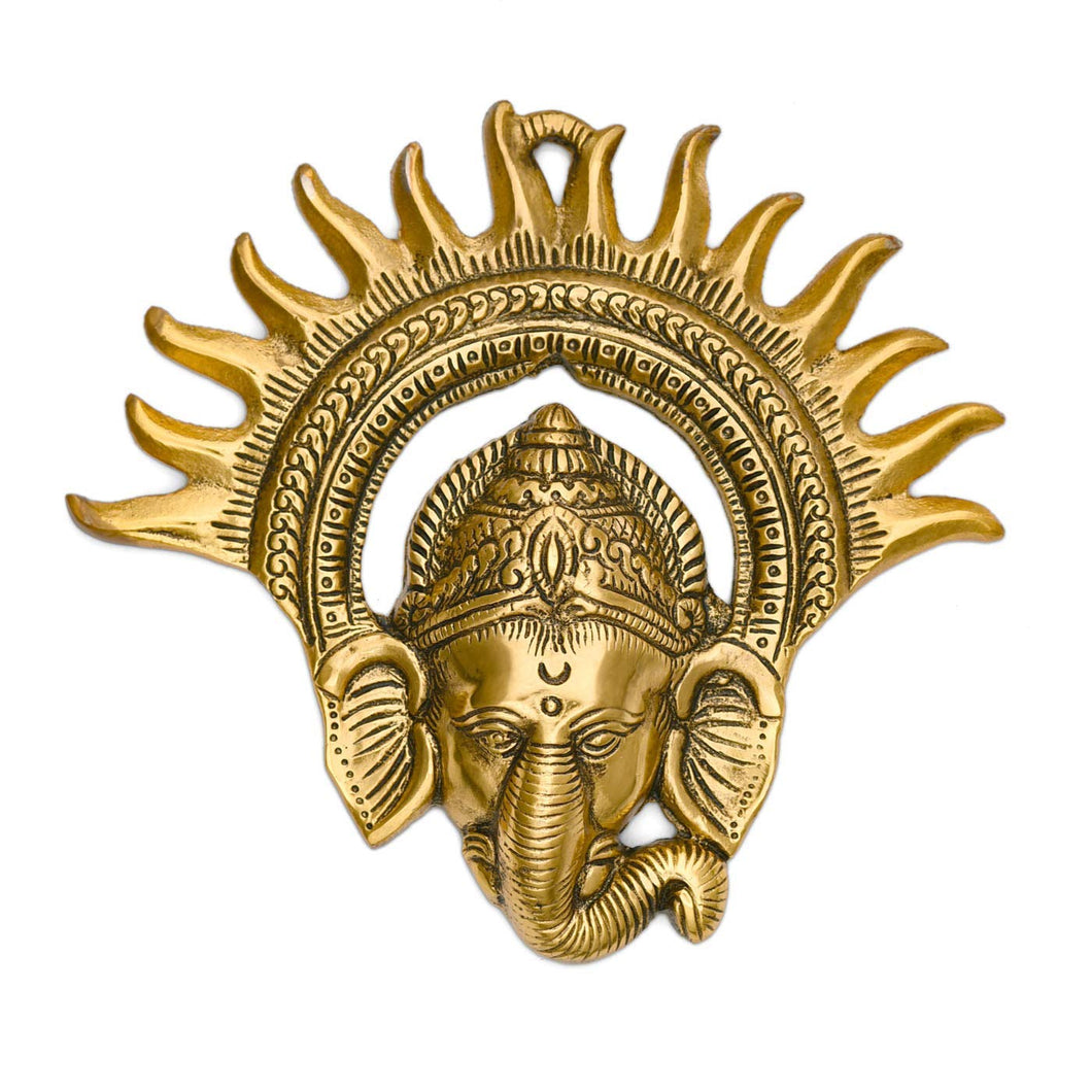 Metal Wall Hanging Kiran Ganesh/Suraj Ganesh Decorative Showpiece - GreentouchCrafts