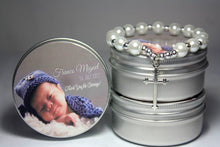 John 3:16 pearl bracelet in silver tin can