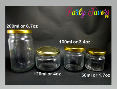 Empty glass jars with gold cap