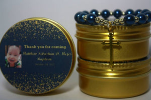 John 3:16 pearl bracelet in GOLD tin can